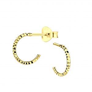 Wholesale Silver Half Hoop Stud Earrings with Diamond Cut