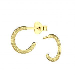 Wholesale Silver Half Hoop Stud Earrings with Diamond Dust