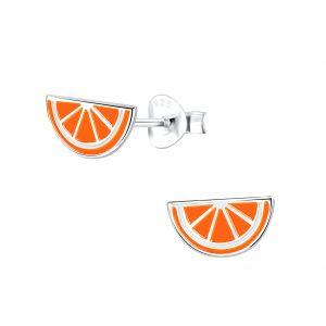 Wholesale Silver Orange Stud Earrings