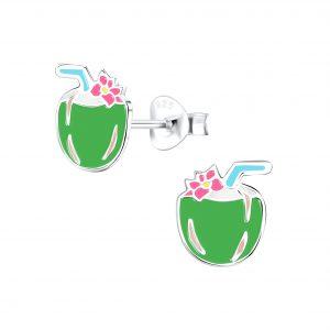 Wholesale Silver Coconut Stud Earrings