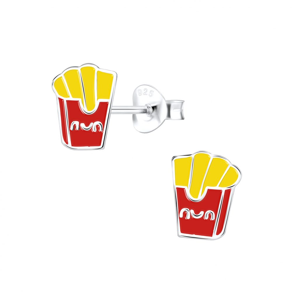 Wholesale Silver French Fries Stud Earrings