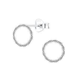 Wholesale Silver Twist Circle Stud Earrings
