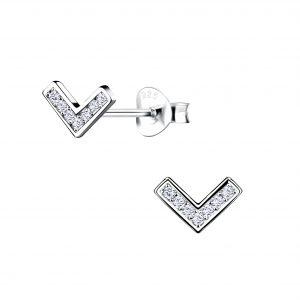 Wholesale Silver Chevron Stud Earrings