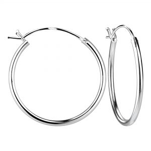 Wholesale 25mm Silver French Lock Hoop Earrings