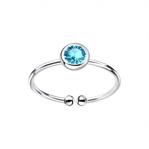 Wholesale 5mm Silver Open Ring with Crystal