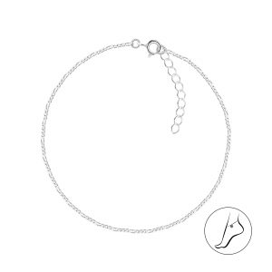 Wholesale 25cm Silver Figaro Anklet With Extension