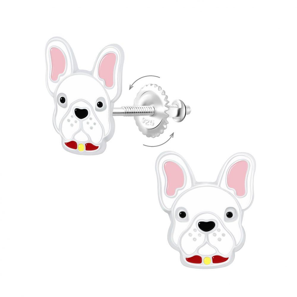 Wholesale Silver Dog Screw Back Earrings