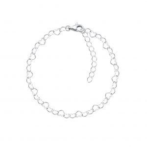 Wholesale 18cm Silver Heart Bracelet