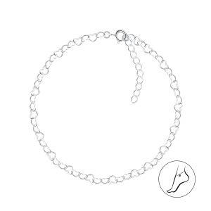 Wholesale 24cm Silver Heart Anklet
