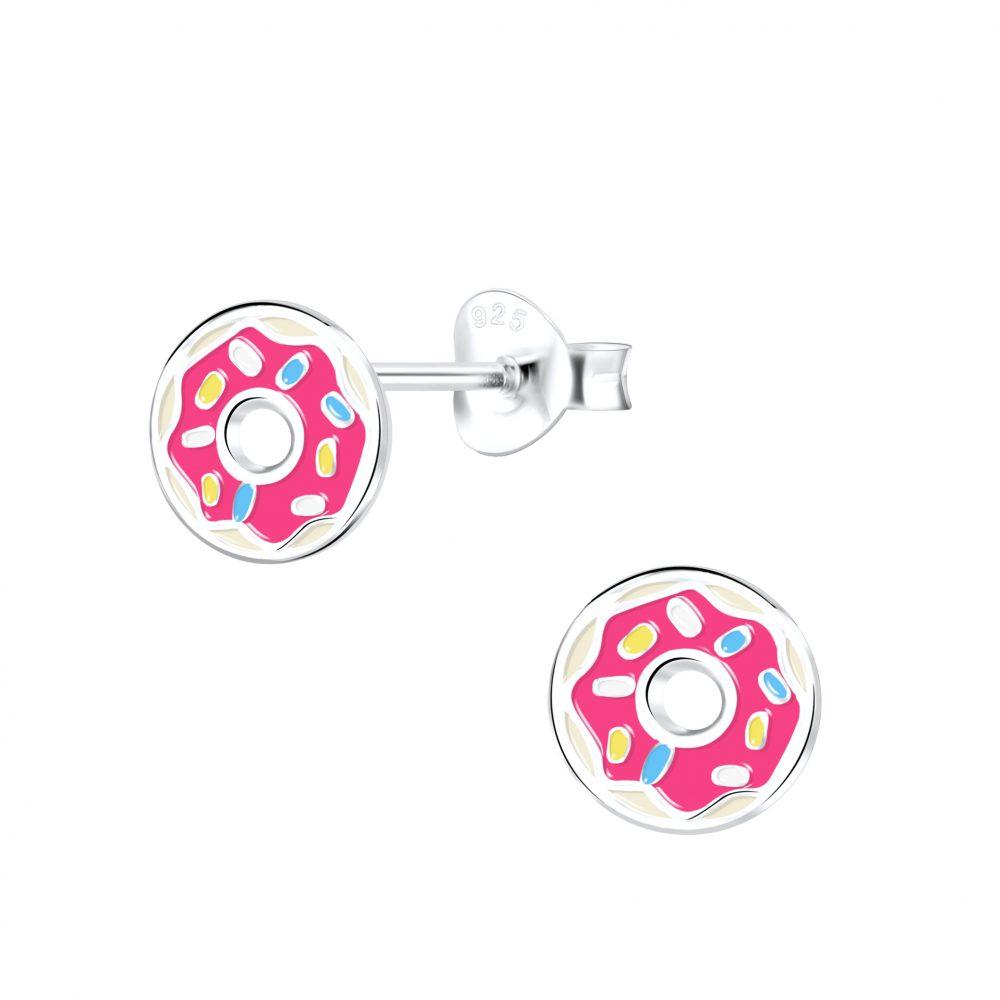 Wholesale Silver Donut Stud Earrings