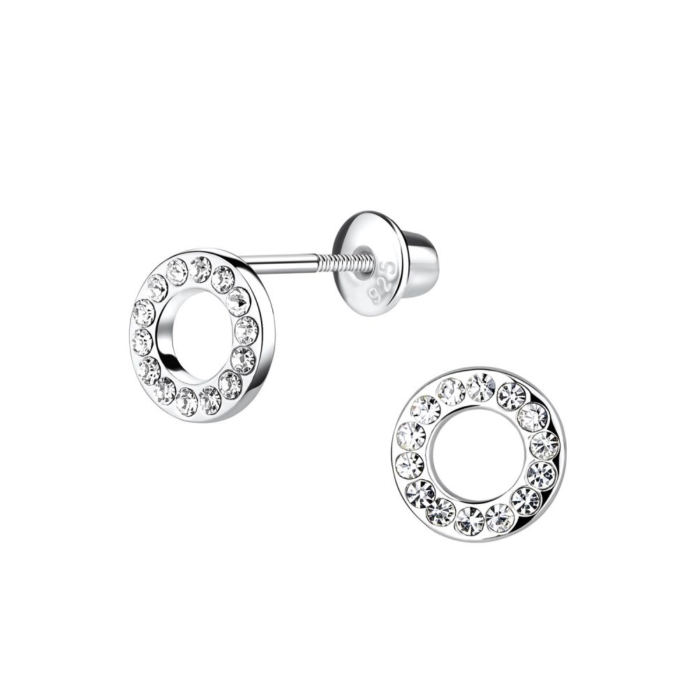 Wholesale Silver Circle Screw Back Bullet Earnings