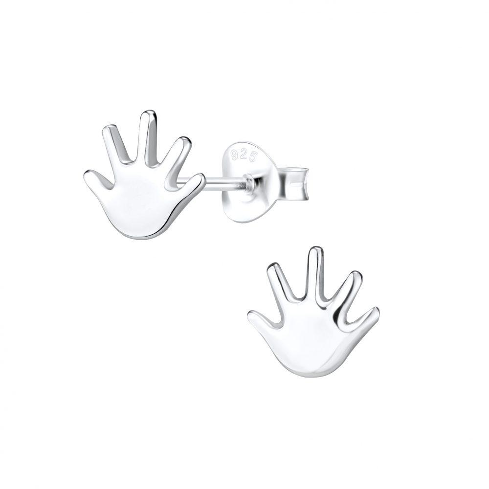 Wholesale Silver Hand Stud Earrings