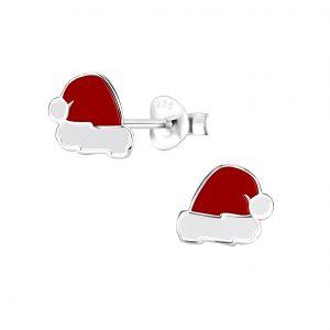 Wholesale Silver Santa Hat Stud Earrings