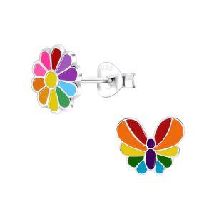 Wholesale Silver Rainbow Stud Earrings