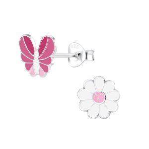 Wholesale Silver Butterfly and Flower Stud Earrings