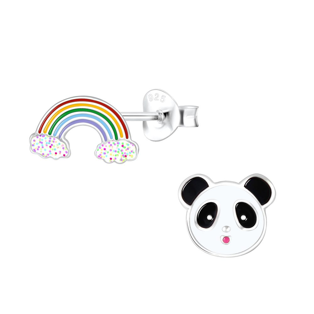 Wholesale Silver Rainbow and Panda Stud Earrings