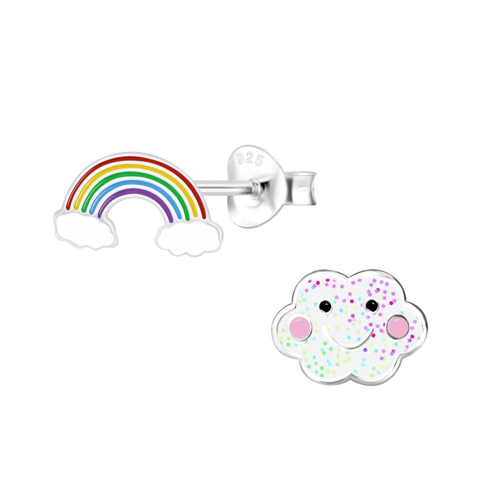 Wholesale Silver Rainbow and Cloud Stud Earrings