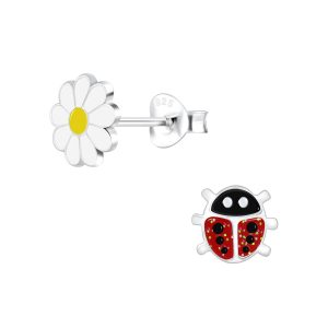 Wholesale Silver Ladybug and Flower Stud Earrings
