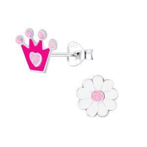 Wholesale Silver Crown and Flower Stud Earrings