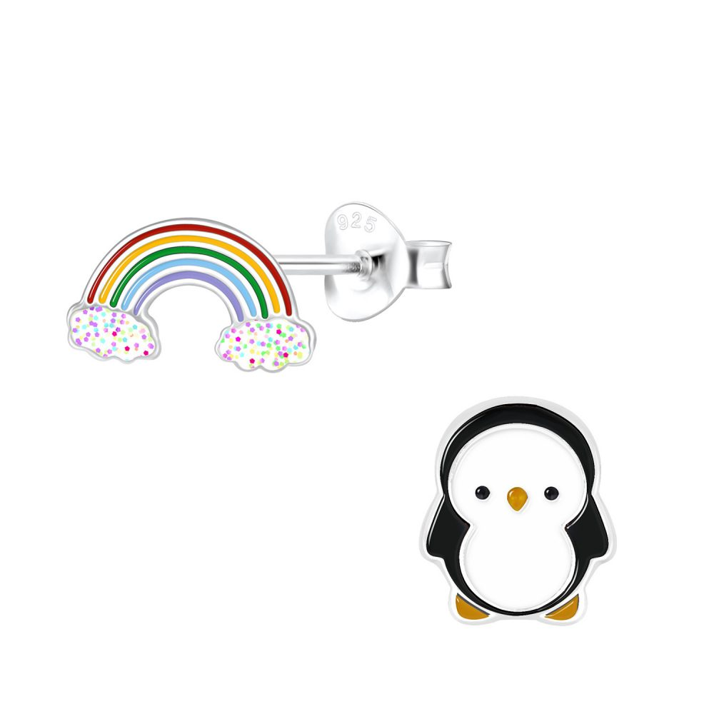 Wholesale Silver Rainbow and Penguin Stud Earrings
