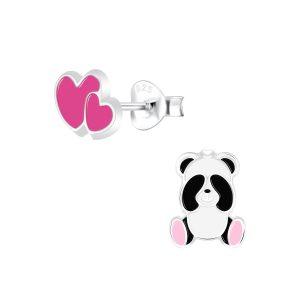 Wholesale Silver Panda Lovers Stud Earrings
