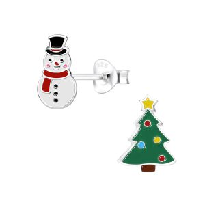 Wholesale Silver Christmas Holiday Stud Earrings