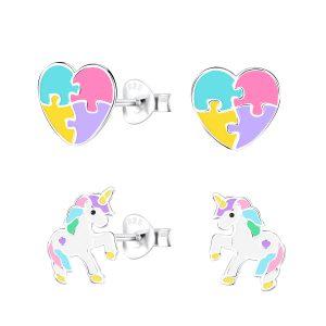 Wholesale Silver Unicorn Lovers Stud Earrings Set