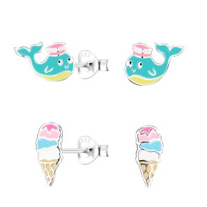 Wholesale Silver Colorful Stud Earrings Set