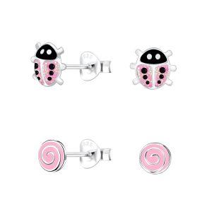Wholesale Silver Pink Lovers Stud Earrings Set