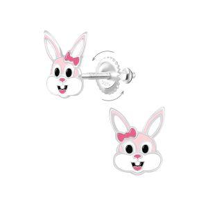 Wholesale Silver Bunny Screw Back Earrings