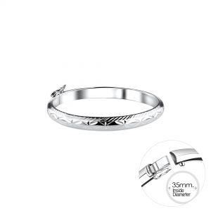 Wholesale 5mm Silver Kids Bangle with Diamond Cut