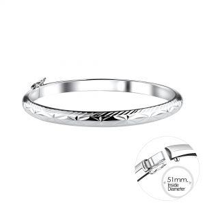 Wholesale 5mm Silver Bangle with Diamond Cut