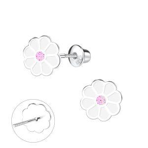 Wholesale Silver Flower Screw Back Stud Earrings