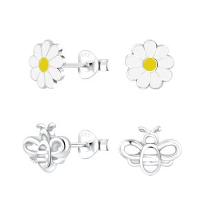 Wholesale Silver Flower and Bee Stud Earrings Set