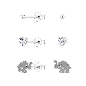 Wholesale Silver Elephant Stud Earrings Set
