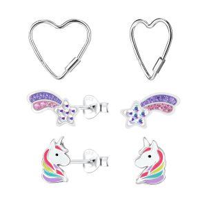 Wholesale Silver Unicorn Stud Earrings Set