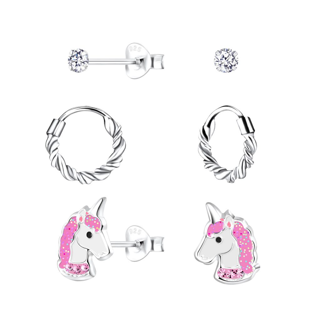 Wholesale Silver Unicorn Earrings Set