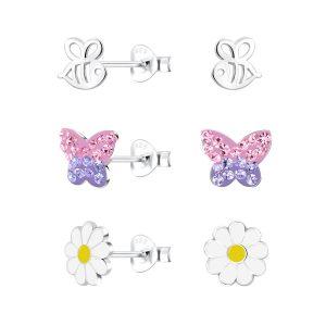 Wholesale Silver Nature Stud Earrings Set