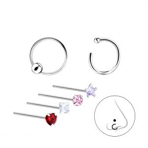 Wholesale Silver Mixed Nose Jewelry Set