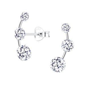 Wholesale Cubic Zirconia Line Sliver Stud Earrings