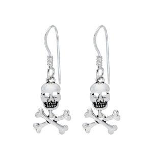Wholesale Silver Skull and Cross Bones Earrings
