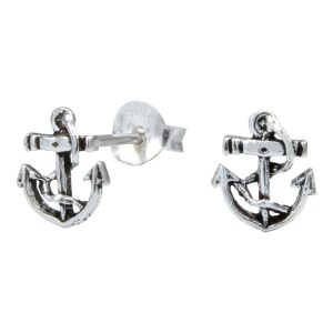 Wholesale Silver Anchor Ear Studs