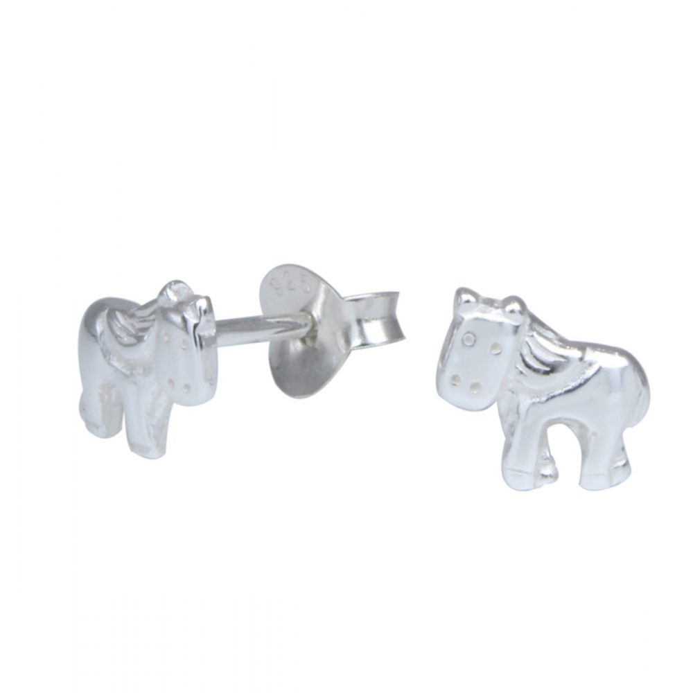 Wholesale Silver Pony Stud Earrings