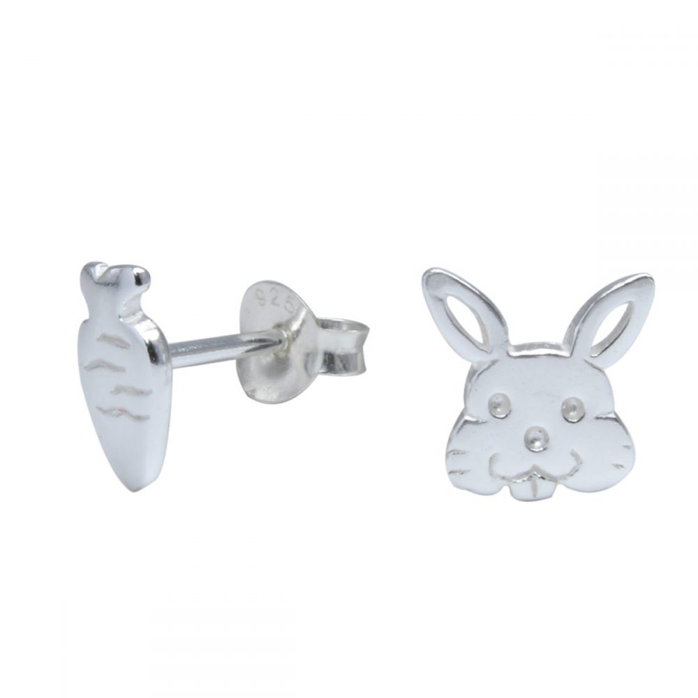 Wholesale Silver Rabbit and Carrot Stud Earrings