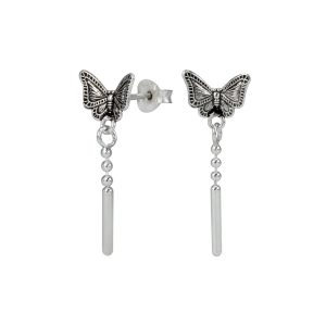 Wholesale Silver Butterfly Stud Earrings with Hanging Chain