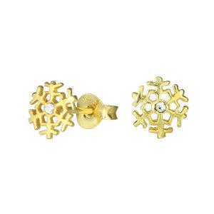 Wholesale Silver Snowflake Crystal Stud Earrings
