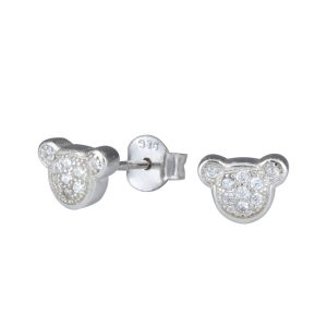 Wholesale Silver Bear Cubic Zirconia Stud Earrings