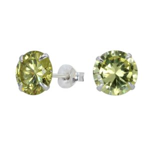 Wholesale 8mm Round Cubic Zirconia Silver Stud Earrings